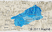 Political Shades 3D Map of El Progreso, shaded relief outside