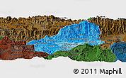 Political Shades Panoramic Map of El Progreso, darken
