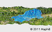 Political Shades Panoramic Map of El Progreso, satellite outside