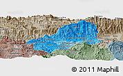 Political Shades Panoramic Map of El Progreso, semi-desaturated