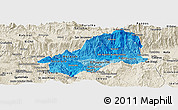 Political Shades Panoramic Map of El Progreso, shaded relief outside