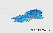 Political Shades Panoramic Map of El Progreso, single color outside