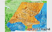 Political Shades 3D Map of Huehuetenango
