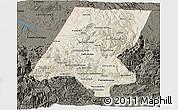 Shaded Relief 3D Map of Huehuetenango, darken