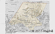 Shaded Relief 3D Map of Huehuetenango, desaturated