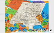 Shaded Relief 3D Map of Huehuetenango, political outside