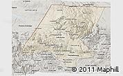 Shaded Relief 3D Map of Huehuetenango, semi-desaturated