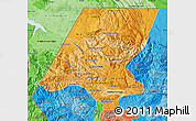 Political Shades Map of Huehuetenango