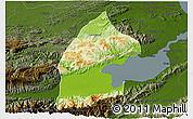 Physical 3D Map of El Estor, darken