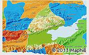Physical 3D Map of El Estor, political outside