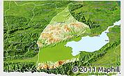 Physical 3D Map of El Estor, satellite outside