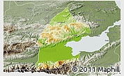 Physical 3D Map of El Estor, semi-desaturated