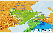 Physical 3D Map of Livingston, political outside