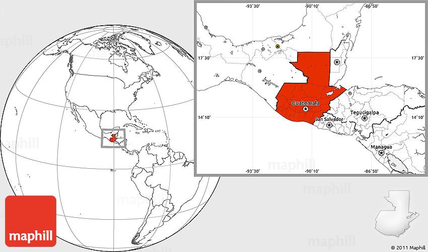 Blank Location Map of Guatemala