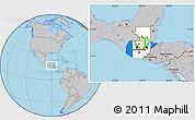 Flag Location Map of Guatemala, gray outside