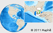 Flag Location Map of Guatemala, shaded relief outside