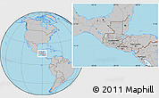 Gray Location Map of Guatemala, hill shading inside