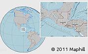 Gray Location Map of Guatemala, hill shading outside
