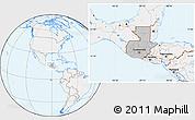Gray Location Map of Guatemala, lighten