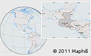Gray Location Map of Guatemala, lighten, semi-desaturated