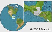 Gray Location Map of Guatemala, satellite outside