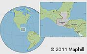 Gray Location Map of Guatemala, savanna style outside