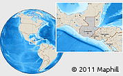 Gray Location Map of Guatemala, shaded relief outside