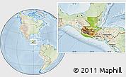 Physical Location Map of Guatemala, lighten