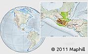 Physical Location Map of Guatemala, lighten, semi-desaturated