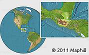 Physical Location Map of Guatemala, satellite outside