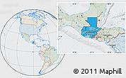 Political Location Map of Guatemala, lighten, semi-desaturated