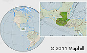 Satellite Location Map of Guatemala, lighten