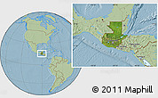 Satellite Location Map of Guatemala, savanna style outside, hill shading