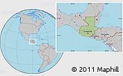 Savanna Style Location Map of Guatemala, gray outside