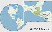 Savanna Style Location Map of Guatemala, lighten, land only