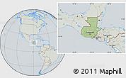 Savanna Style Location Map of Guatemala, lighten, semi-desaturated