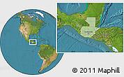 Savanna Style Location Map of Guatemala, satellite outside