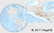 Shaded Relief Location Map of Guatemala, lighten