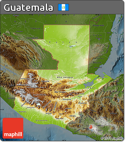 Free Physical Map of Guatemala darken