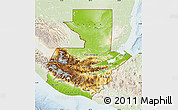 Physical Map of Guatemala, lighten