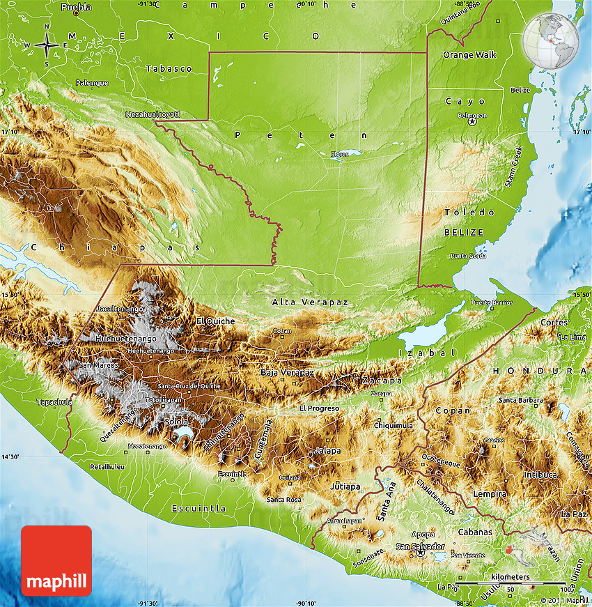 Physical Map of Guatemala