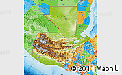 Physical Map of Guatemala, political outside, shaded relief sea