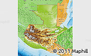 Physical Map of Guatemala, political shades outside, shaded relief sea