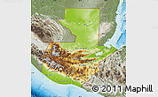 Physical Map of Guatemala, semi-desaturated, land only