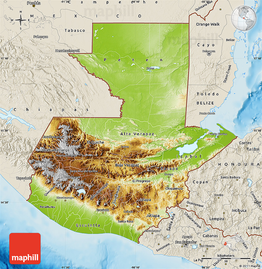 Physical Map Of Guatemala Shaded Relief Outside - Political map of guatemala