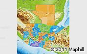 Political Map of Guatemala, physical outside