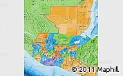 Political Map of Guatemala, political shades outside