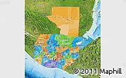Political Map of Guatemala, satellite outside, bathymetry sea