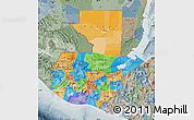 Political Map of Guatemala, semi-desaturated