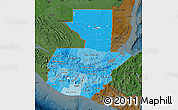 Political Shades Map of Guatemala, darken